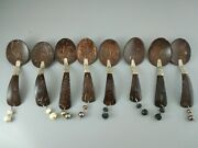 Saleantique Wooden Possible Hand Made With Silver African Spoons Set Of 8 Lot