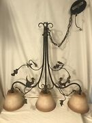 Ironware Int'l François 3-light Pendant Forged Iron Fixture W/ Parchment Shades