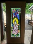 Beautiful Hand Made Stained Glass Oriental Style Entry Door - Jh368