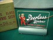 1950s Peerless Beer Glass Light Up Sign With Gnome In Box Bar Outstanding