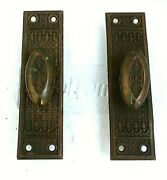 2 Antique Rose Brass Mechanical Turn Knob China, Curio, Cabinet Mortise Latches