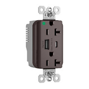 Plugtail® Hospital Grade 20a Usb Charging Receptacles, Brown Type A C