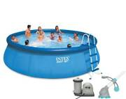 Intex 18ft X 48in Easy Set Above Ground Pool With Pump And Krill Automatic Vacuum