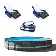 Intex 24ft X 52in Ultra Xtr Round Frame Pool, Loungers 2 Pack, Floating Cooler
