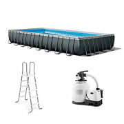 Intex 32and039 X 16and039 X 52 Ultra Xtr Rectangular Outdoor Swimming Pool Set With Pump