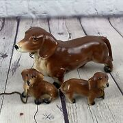 Vintage 1950andrsquos Dachshund Dog With Chains For 2 Puppies Figurines Made In Japan
