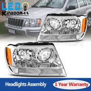 For 1999-2004 Jeep Grand Cherokee Clear Lens Headlights Headlamps Replacement