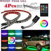 4x Led 7colors Strip Under Car Neon Light Remote Tube Underglow Underbody System