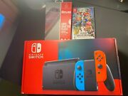 Nintendo Switch Neon Red And Blue Joy-con Console V2 Super Smash And Screen Protect