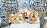 Antique Royal Vienna Portrait Putti Sugar And Creamer Red Beehive Mark High Relief