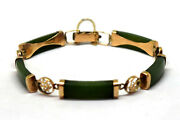 Vintage Chinese 10k Solid Gold And Spinach Jade Bracelet With Safety Chain