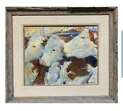Early Original 1979 Signed Leonard Wren Cow Oil Painting