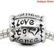 Love To Dance Charms 5 10 20 - European Style Barrel Word Message - Diy Jewelry