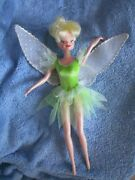 Disney Tinkerbell Doll Green Dress Fairy Silver Wings Clothes Barbie Peter Pan