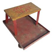 Vintage Mac Tools Wood Stool C-3s Industrial Creeper Seat Roll Around Usa Red