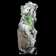 Apophyllite Green With Calcite Cubes And Stilbite Natural Mineral Specimen C11