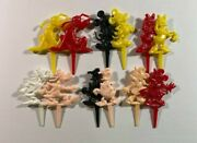 Vintage Lot Of 12 Disney Birthday Cake Candle Holders Mickey Mouse