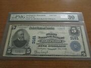 Large Size Wisconsin National Currency 5 Note 1st Nb Darlington Pmg 30