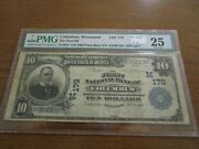 Large Size Wisconsin National Currency 10 Note 1st Nb Columbus Pmg 25