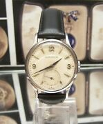 Antique Vintage 40and039s Swiss Jaeger Lecoultre Steel Mans Watch Cal 469/a Serviced