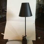 Vintage Metal Table Lamp With Black Gold Lined Paper Shade.sitting Monkey On Bas