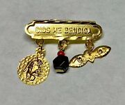 14k Dios Me Bendiga Baby Pin W/ Genuine Azabache, Guardian Angel And St. Lucy Eyes