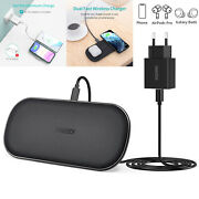 Choetech 5 Coils Dual Charger Qi Wireless Charging Pad For Iphone Samsung Buds