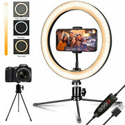 10 Led Ring Light With Tripod Stand And Phone Holder Dimmable Desk Makeup Kit