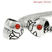 Rose Heart Spacer Beads 5 10 20 - Red Crystal - European Style Charm Diy Jewelry