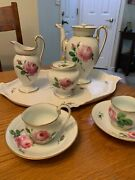 Meissen Porcelain Hand Painted Pink Roses And Gold Swan Head Spout Tea Set W/tray