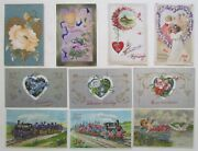 Lot Of 10 Valentine Antique Embossed Postcards W/ Flowers Trains Cupid