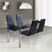 Transparent Tempered Glass Table Dining Chairs Kitchen Set Cafe Home Furniture