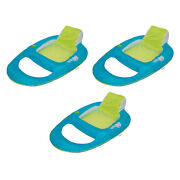 Swimways Spring Float Inflatable Recliner Pool Lounger, Aqua And Lime 3 Pack