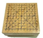 New Club Stamp Rubber Grid Circle Compass 2004 Wood Mounted 2004