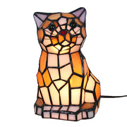 8 Inch Cute Cat Style Stained Glass Accent Table Lamp Night Light Gift