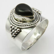 925 Solid Sterling Silver Black Onyx Ring Size 7.25 Cheapest Shipping