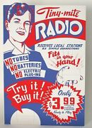 Vintage Old Tiny-mite Radio Display Standee Counter-top Display Without Radios