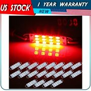 20pcs Red 44mm Festoon Led Lights Lamps 12-smd-2835 Car Interior Working Bulbs