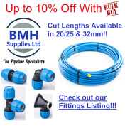 20/25 And 32mm Mdpe Blue Alkathene Water Pipe Choice Lengths Supplied 1m-100m
