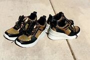 Dkny Women Leo Wedge Sneakers Nwob Size 7.5 And 8.5 Shiny Color Gold And Black New