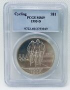 1995-d Pcgs Ms69 Cycling Commemorative Silver Dollar 90 Silver Coin