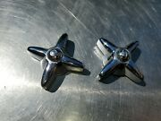 Antique Vintage Heavy Duty Chrome Hot And Cold Water Control Knobs 2-3/4