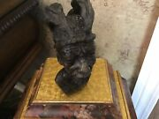 Sculpture Bust African Old Man Hand Carved Marble With Ceremonial Head Dress 8andrdquo