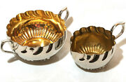 Vintage Half Ribbed Silver Creamer Pitcher And Sugar Bowl W/ Gold Wash Antiques