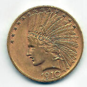 10 Dollars U.s.a.gold 1910 @ Indian @excellent@