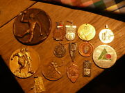 Set Of 14 Medals And Other Reward Sportive Old