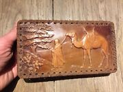 Antique Box In Gloves Leather Embossed Pattern African Sign Buzin 1 3/8x7