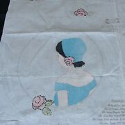 Vintage Tinted Girl Lady Stamped Linen Boudoir Pillow To Embroider By Artmo
