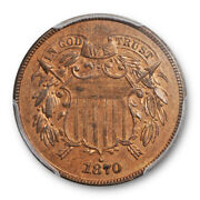 1870 2c Proof Two Cent Piece Pcgs Pr 63 Rb Red Brown Low Mintage Cert4942
