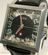 Relic Square Auto 23j Silver Numerals Red Hands Black Dial Mens Watch--vintage